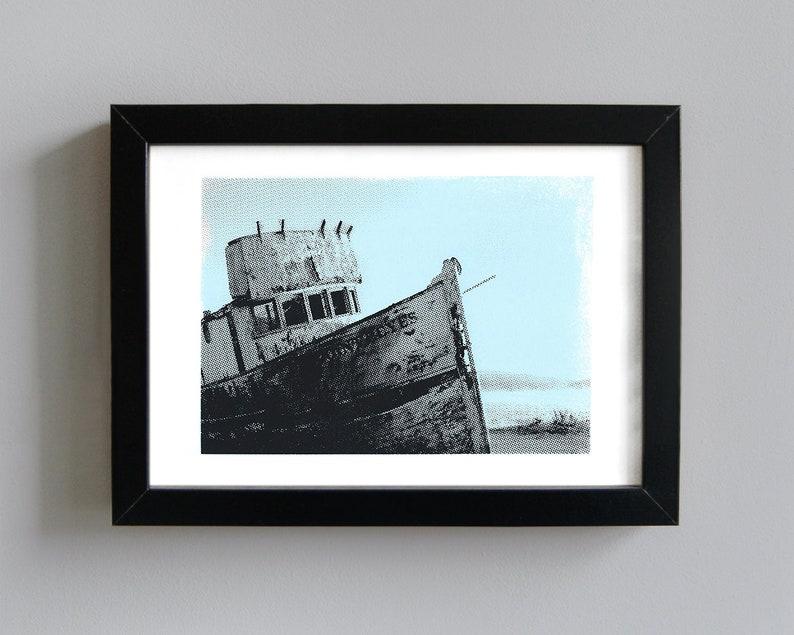 Wrecked boat art print  screenprint wall art coastal art image 0