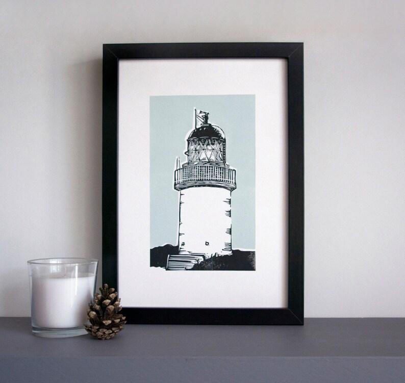 Lighthouse art print  lighthouse linocut Corran lighthouse image 0