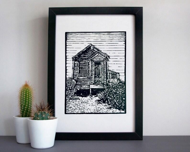 Bodie ghost town wooden house linocut print  desert linocut image 0