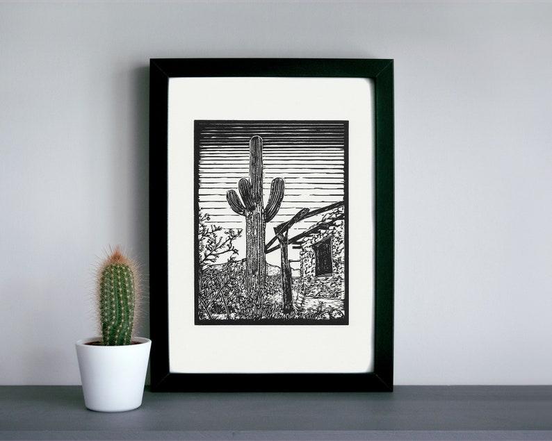 Saguaro linocut print  ranch homestead desert linocut print image 0