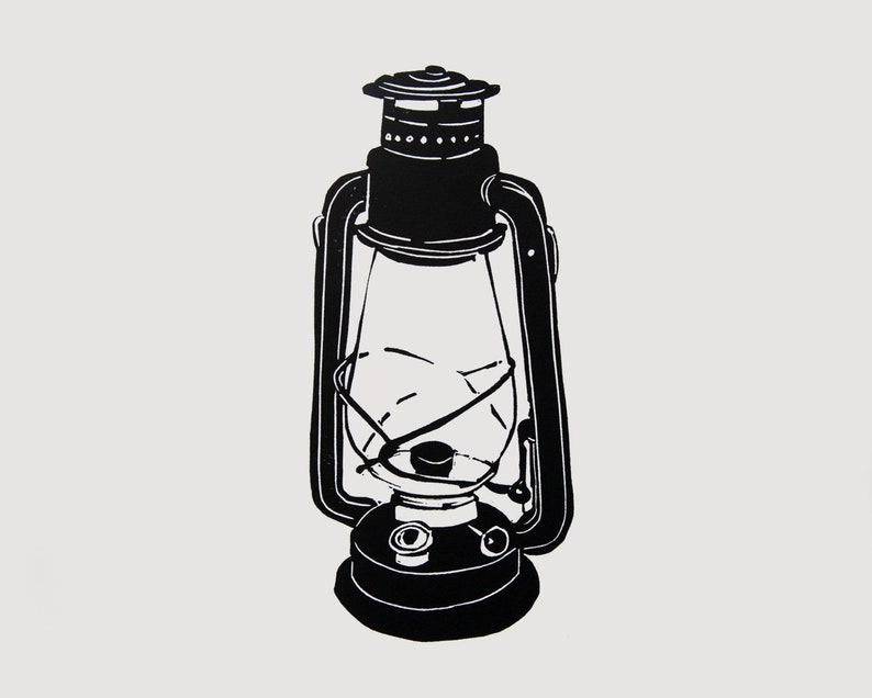 Oil lamp linocut print  camping lantern art gift for him image 0