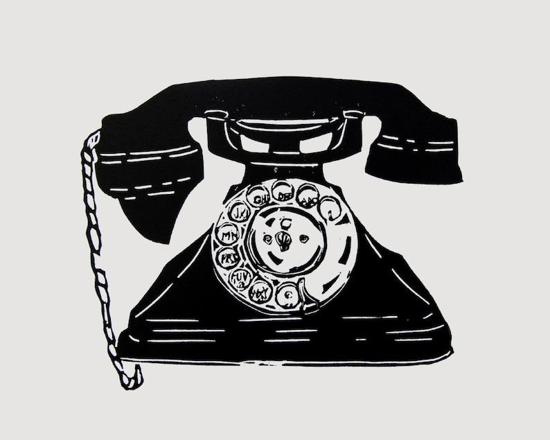 Vintage Telephone wall art  phone linocut print bakelite image 0