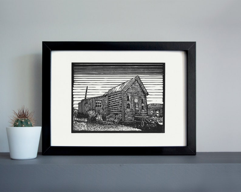 Bodie ghost town McMillan House  linocut print  ghost town image 0