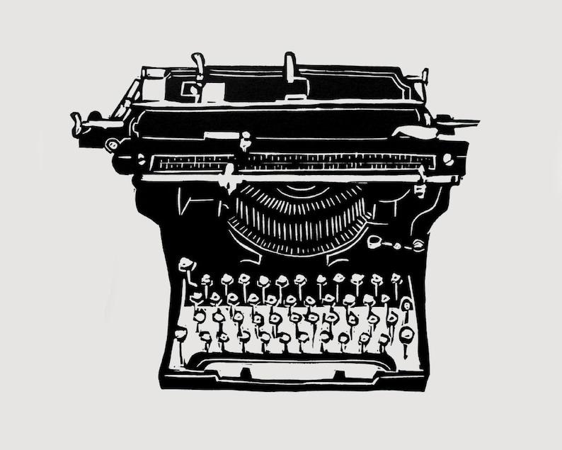 Vintage Typewriter print  linocut print vintage typewriter image 0