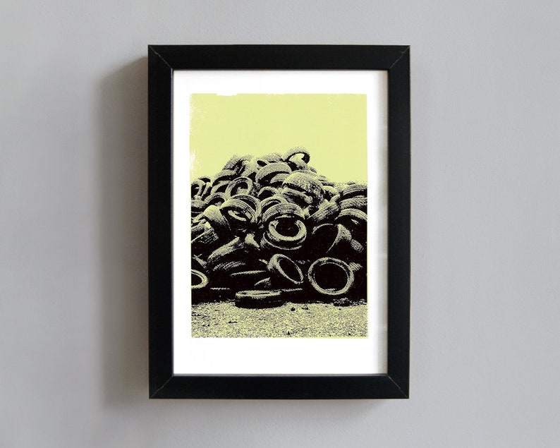 Worn tyres screenprint  industrial art print urban art image 0