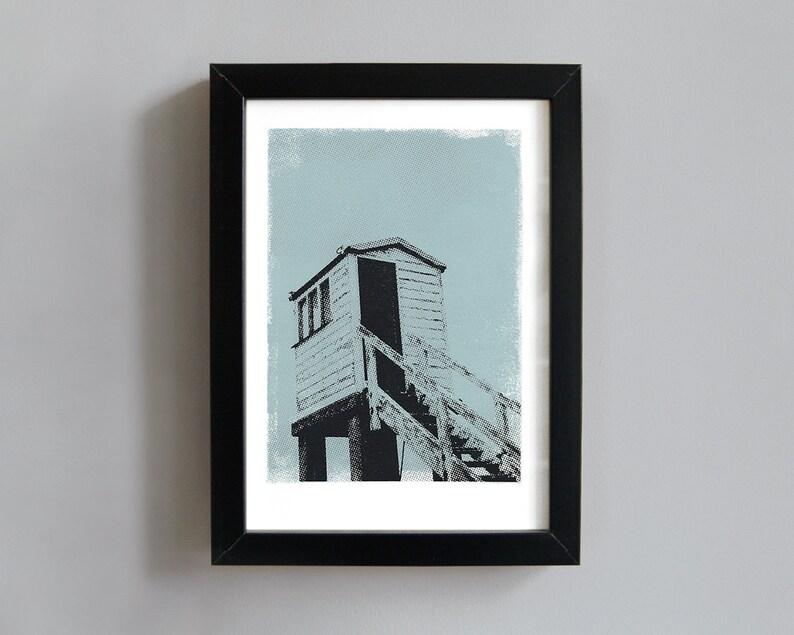 Beach rescue tower art print  screenprint wall art beach image 0