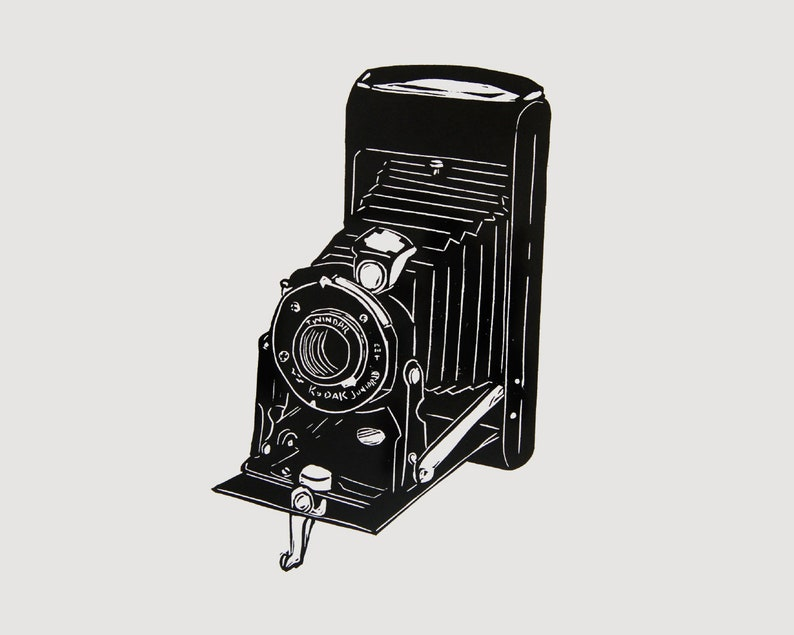 Old Kodak Camera art  camera linocut print retro camera image 0