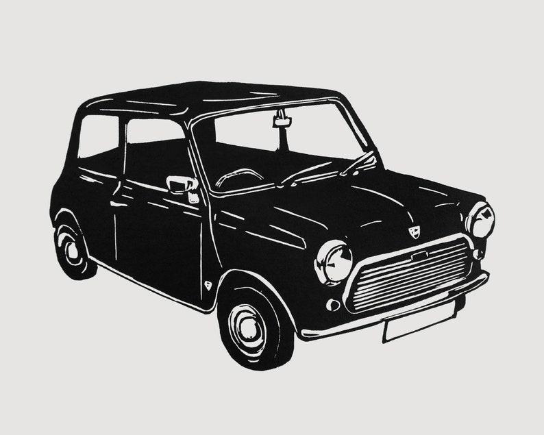 Retro Mini car  linocut print car lover gift classic car image 0