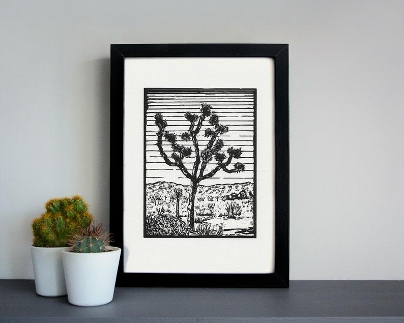 Joshua Trees linocut print  desert linocut print national image 0