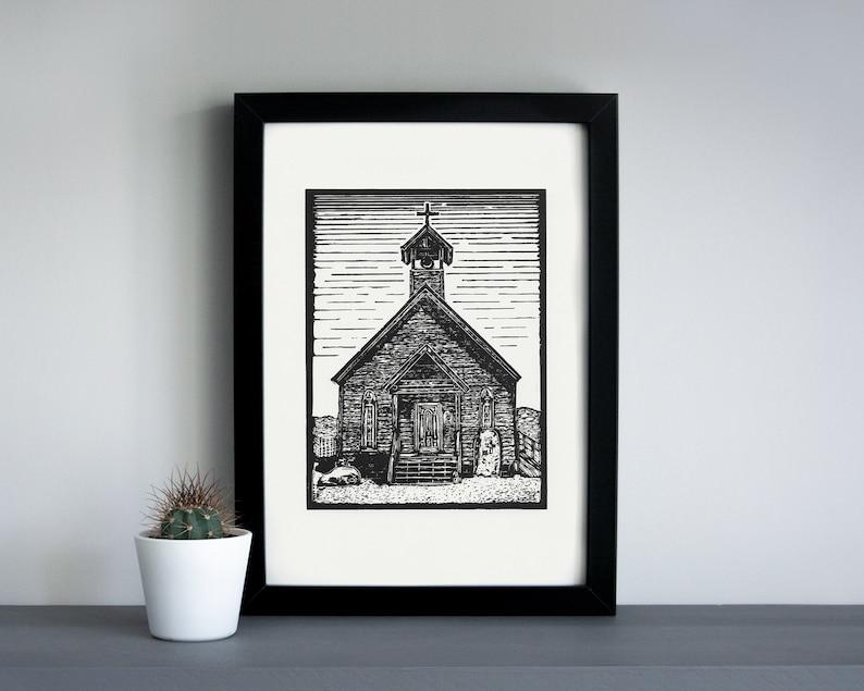 Goldfield ghost town Church linocut print  Goldfield church image 0