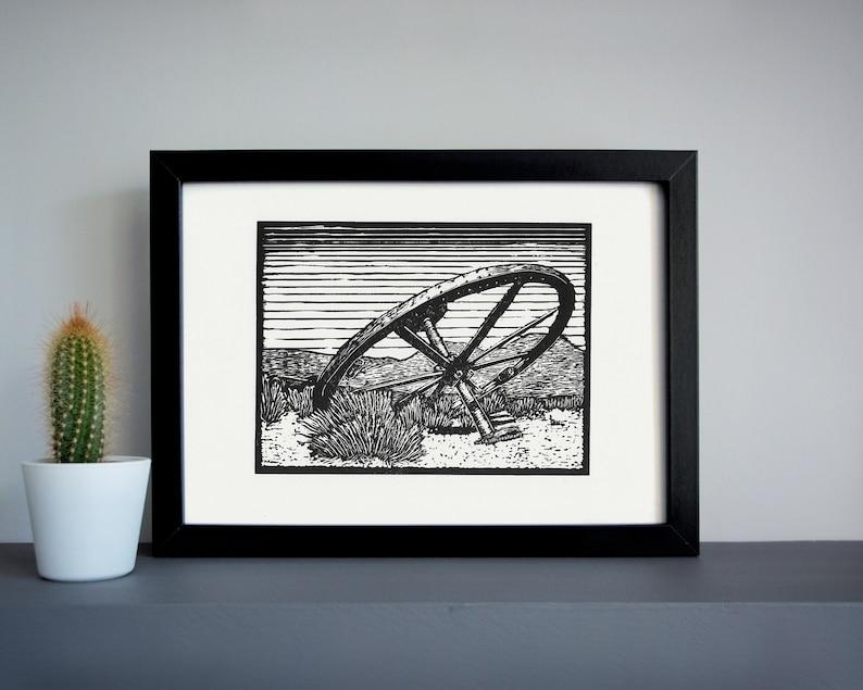 Bodie ghost town Wagon Wheel linocut print  desert linocut image 0