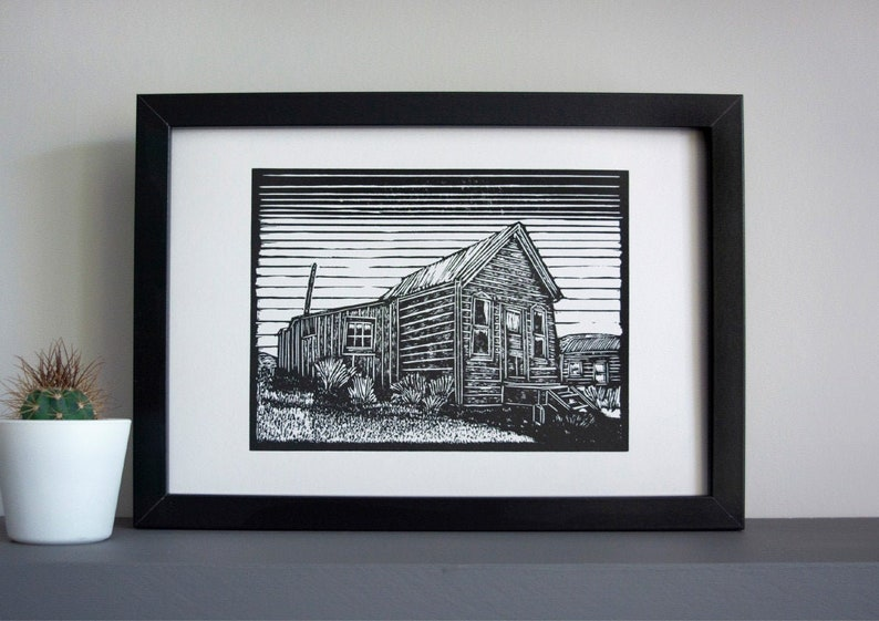 Bodie big house  linocut print  ghost town wooden house image 0