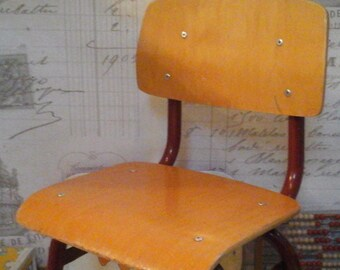 Vintage Wooden Children School Chair...Dutch Design ...Mid  Century...Nursery Room...Totlers Chair.