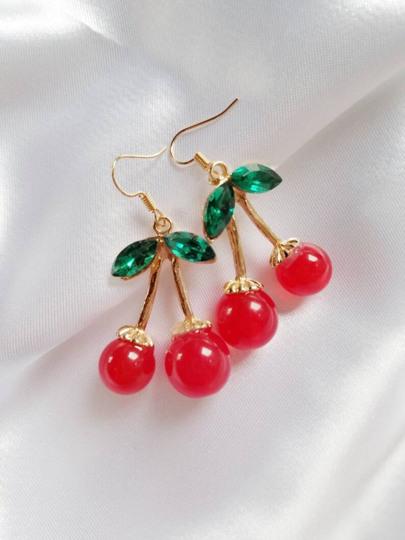 b2d1a241b9607 Cherry Earrings, Kawaii Earrings, Lolita, kawaii, Cherry, Summer, Pinup,  Aesthetic