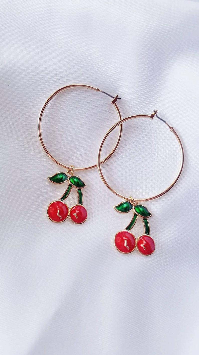 78db2a72efaf3 Cherry Hoop Earrings // Cherry Earrings, Gold Hoop Earrings, Hoop earrings,  Lolita, Kawaii, Aesthetic, Summer