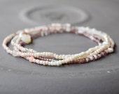 Long Earth Tone Gemstone Necklace, Multi Wrap Bracelet, Beaded Women/Teen Necklace