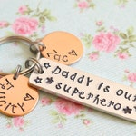 Daddy is Our Superhero Personalized Keyring, Fathers Day Gift from Children, My Superhero, Birthday Gift, For Dad, Children's Names, New Dad
