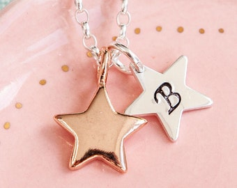 Rose Gold Initial Necklace - Star Necklace - Rose Gold Necklace - Rose Gold Jewellery - Mum Gift - Star Jewellery - Star Initial Necklace