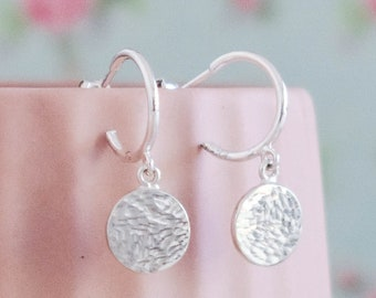 Sterling Silver Hoop Earrings ∙ Silver Disc Dangle Earrings ∙ Hammered Silver Earring ∙ Birthday Gift for Her ∙ Christmas Stocking Filler