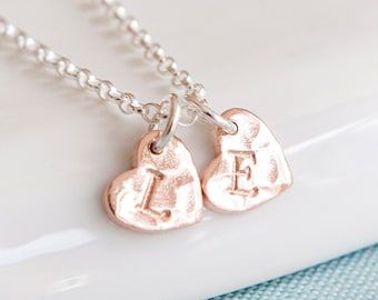 Rose Gold Heart Necklace - Personalised Heart Jewellery - Rose Gold Pendant - Initial Necklace - Birthday Gift for Her - Christmas Present