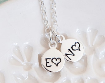 Sterling Silver Initials Necklace ∙ Birthday Gift Idea ∙ Personalised Necklace ∙ Couple Necklace ∙ Disc Necklace ∙ Custom Heart Necklace