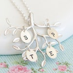 Family Tree Necklace - Nanny Gift - Personalised Christmas Gift for Mum - Gift for Grandma - From Grandchildren - Child Initial Necklace