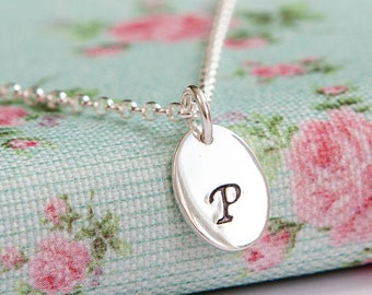 Oval Initial Necklace - Monogram Necklace - Sterling Silver - Oval Tag - Script Initial - Simple Everyday Jewellery - Birthday Gift