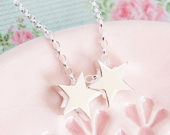 925 Sterling Silver 2 Stars Necklace ∙ Star Jewellery ∙ Birthday Gift for Her ∙ Mums Necklace ∙ Double Star Necklace • Christmas Present