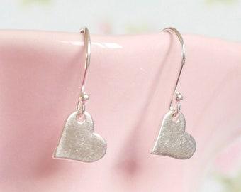 Sterling Silver Heart Drop Earrings ∙ Birthday Gift for Her ∙ Heart Charm ∙ Dangle Earrings ∙ Heart Jewellery ∙ Christmas Stocking Filler