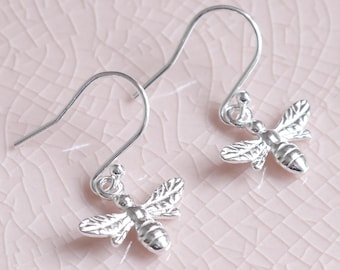 Sterling Silver Bee Earrings ∙ Birthday Gift For Her ∙ Dangle Earrings ∙ Silver Earrings ∙ Drop Earrings ∙ Bee Jewellery ∙ Bridesmaid Gift