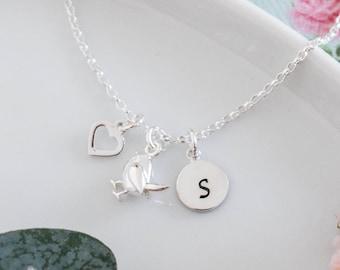 Personalised Robin Bracelet • Birthday Gift for Girl • Bird Jewellery • Heart Initial Bracelet • Christmas Present • Stocking Filler for Her