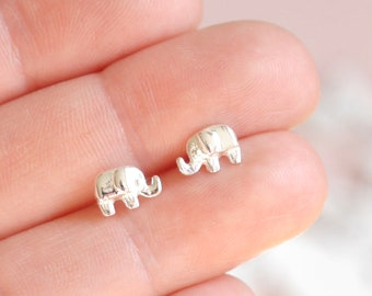 Tiny Elephant Studs ∙ 925 Sterling Silver ∙ Small Elephant Earrings ∙ Birthday Gift Idea for Girls ∙ Christmas Stocking Filler