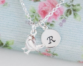 Personalised Robin Necklace • Birthday Gift for Girl • Bird Jewellery • Initial Pendant • Christmas Present • Stocking Filler for Her