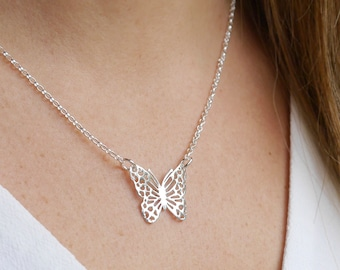 Sterling Silver Butterfly Necklace ∙ Butterfly Gifts for Her ∙ Butterfly Jewellery ∙ Birthday Gift Idea ∙ Butterfly Presents ∙ Filagree