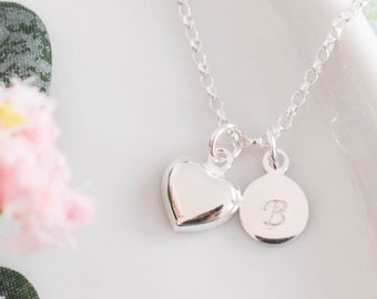 Personalised Heart Necklace ∙ Sterling Silver ∙ Birthday Gift Idea ∙ Heart Charm Necklace ∙ Necklaces for Her ∙ Silver Necklace • Christmas