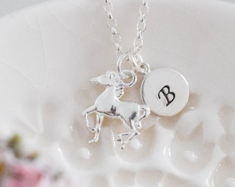 Personalised Horse Necklace • Birthday Gift for Girl • Equestrian Jewellery • Initial Pendant • Christmas Present • Stocking Filler for Her