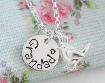 Robin Memorial Necklace • Grandad Dad Mum Grandma • Sterling Silver Pendant • Remembrance Gift •  When Robins Appear Loved Ones Are Near