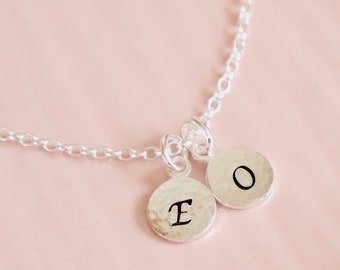 Two Initial Necklace ∙ Hammered Disc Necklace ∙ Double Initial ∙ Personalised ∙ Two Children ∙ Disc Necklace ∙ Christmas Present