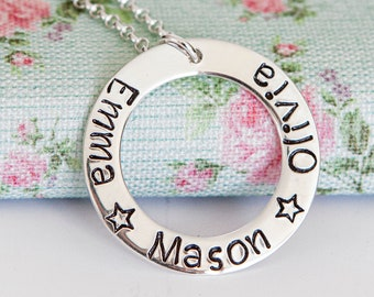 Personalised Ring Necklace ∙ 925 Sterling Silver Necklace ∙ Children Name Necklace ∙ Birthday Present for Mum • Christmas Present