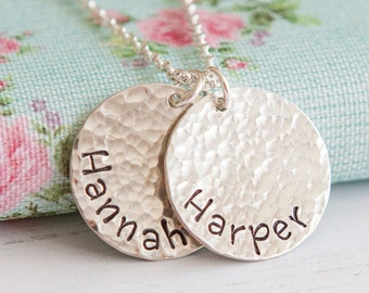 Personalised Disc Necklace with Children Names - Birthday Gift Idea - Mothers Necklace - Family Necklace - Gift for Her - Name Necklace