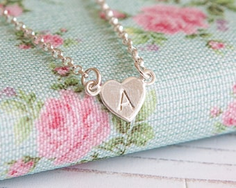 Tiny Heart Necklace - Personalised - Sterling Silver Initial Pendant - Birthday Gift for Her - Small Heart Jewellery - Christmas Present