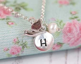 Personalised Tiny Bird Necklace - Unique Gift Idea for Her - Initial Necklace - Little Bird - Silver Bird - Bird Jewellery • Christmas