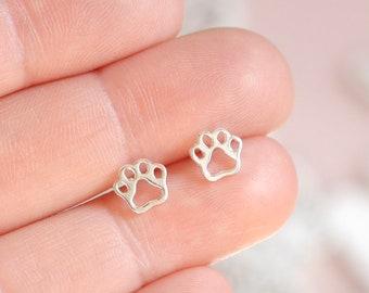 Dog Paw Earrings ∙ 925 Sterling Silver Paw Print Earrings ∙ Dog Lover Gift ∙ Birthday Gift Idea for Her ∙ Christmas Stocking Filler