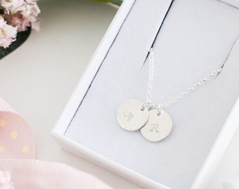Personalised Two Initial Necklace ∙ Sterling Silver ∙ Birthday Gift for Her ∙ Custom Initial Necklace ∙ Disc Necklace ∙ Christmas Present