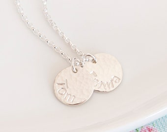 Personalised Disc Necklace ∙ Hammered Silver Necklace ∙ Necklace With Kids Names ∙ Circle Necklace ∙ Name Necklace • Christmas Present
