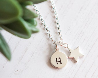 Sterling Silver Star Necklace with Initial - Personalised Star Necklace - Gift Idea for Her - Celestial Gift For Friend - Christmas Present