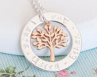 Personalised Tree of Life Necklace ∙ Sterling Silver & Rose Gold ∙ Mum Gift ∙ Birthday Gift for Grandma ∙ Nanny Gift ∙ Christmas Present