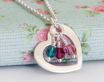 Birthstone Necklace ∙ Sterling Silver Necklace ∙ Nanny Gift ∙ Birthday Present for Grandma ∙ Birthstone Jewellery ∙ Christmas Present