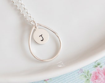 Oval Shaped Personalised Necklace in Sterling Silver - Initial Necklace - Gift Idea - Teardrop - Textured Metal - Monogram Pendant