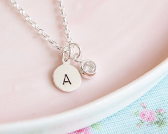 Sterling Silver Initial Necklace - Girl Gift - Personalised Letter Pendant - Gift for Friend or Sister - May Birthstone - April Birthday